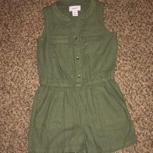 Olive green jumpsuit shorts.